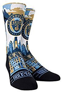 MLS Philadelphia Union Custom Athletic Crew Socks, Youth, City Skyline