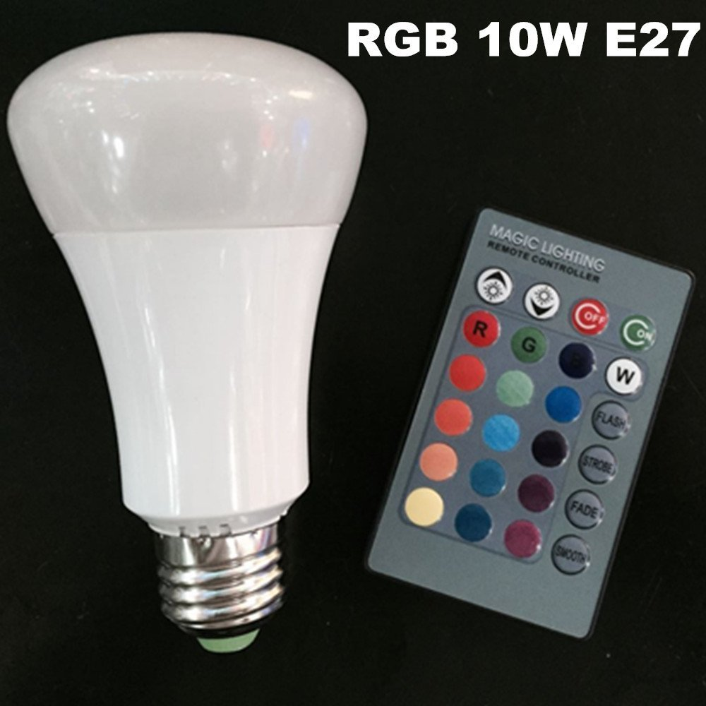 Eleidgs 10W RGB LED Bulb E27 Bulb for Decorative Lights + 24 Buttons Remote Control-4 Modes Dimmable