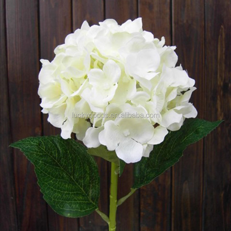 Single Stem Fashionable Pure White Silk Hydrangea Flowers