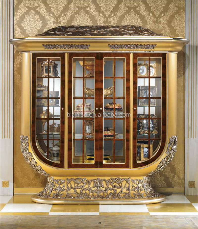 Luxury Glass Door : Antique italian brass mounted four doors display cabinet