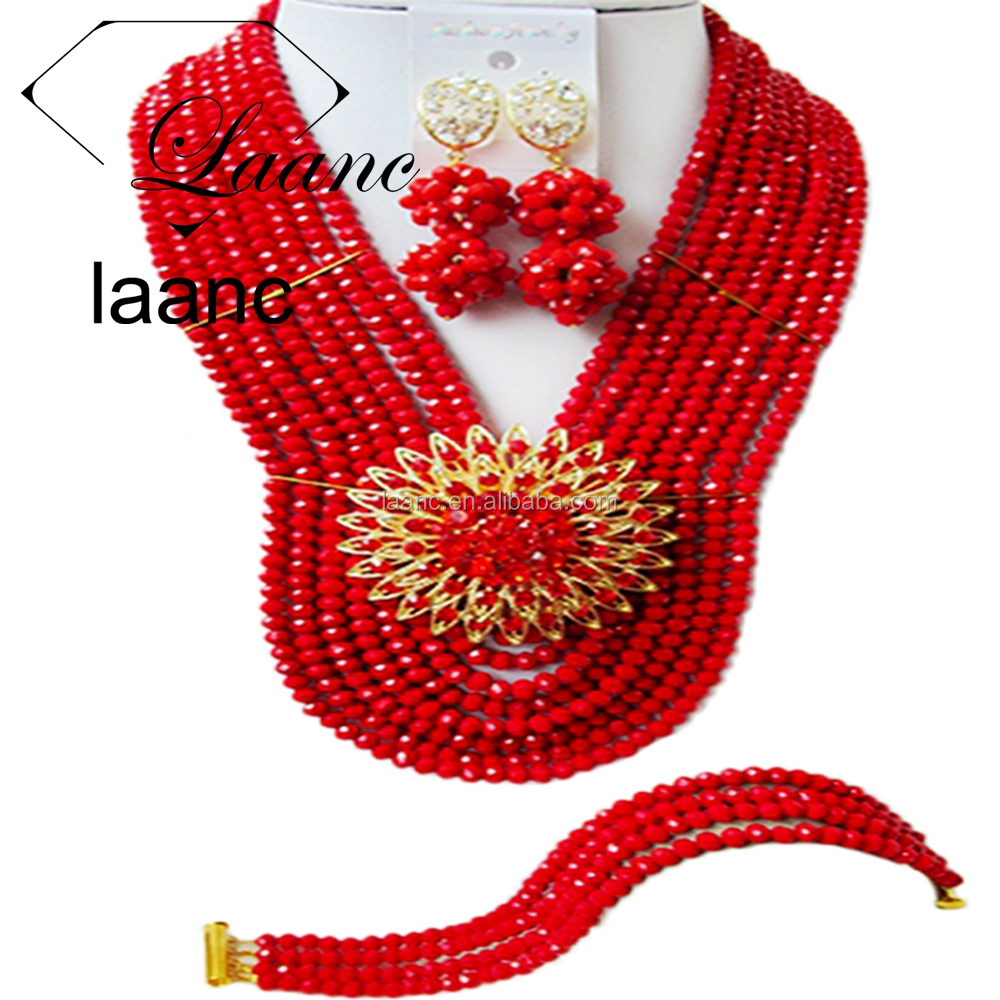Handmade 8 Rows Opaque Red African Crystal Traditional Beaded Jewelry Set for Mens Costume Nigerian Wedding Beads Necklace