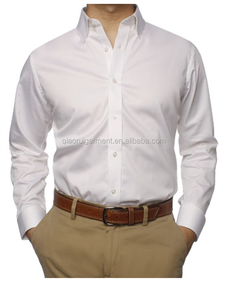 Spring Long Sleeve White Office Work Mens Dress Shirt Whole Qr