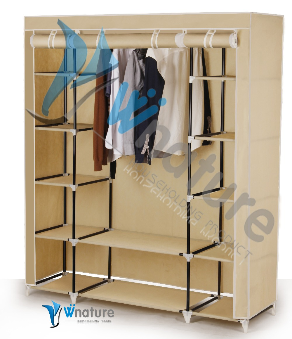 folding fabric portable bedroom wardrobe with metal frame