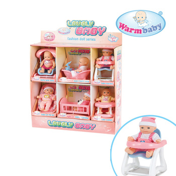 Warmbaby lovely toy mini vinyl 6PCS 5 inch baby dolls from china