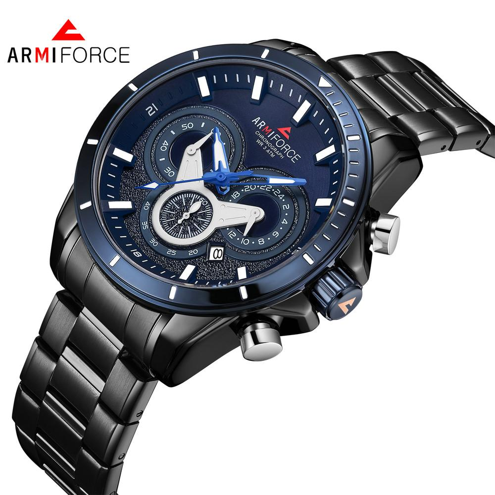 ARMIFORCE 8005 Men Stainless Steel Quartz Watch Luminous Hands Calendar 24-hours