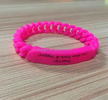 Custom Logo Printing Braided Silicone Bracelets Chain Link Bracelet