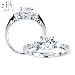 14K Solid White Gold Fine Jewelry Set Diamond Women Engagement Ring Band Solitaire Semi Setting Rings Without Stones