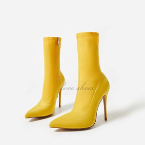 women sexy high heel Pointed Toe lycra Ankle Boots
