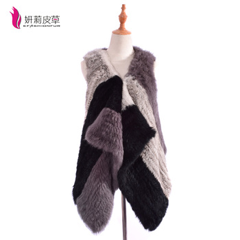 2017 New Fashion knitted Natural Rabbit Fur Vest for women