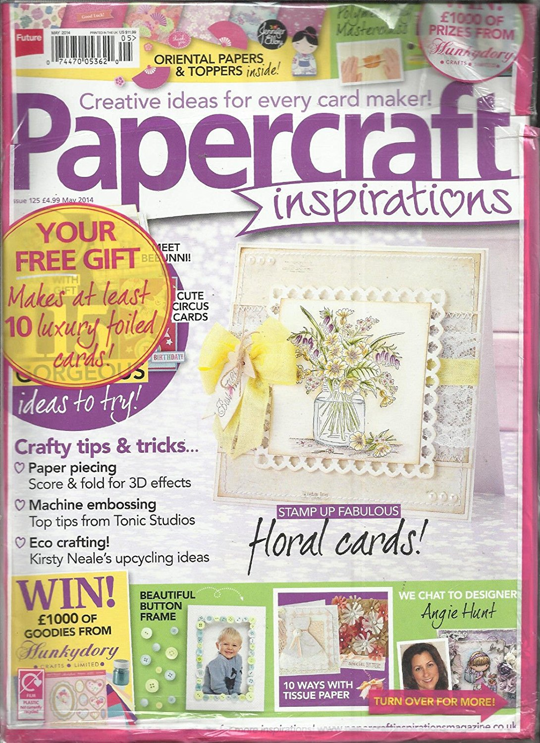 PAPER CRAFT INSPIRATIONS , MAY, 2014 ( CREATIVE IDEAS FOR EVERY CARD MAKER ) ( NOTE :: NOTE:: SORRY,NO ANY KINDS OF FREE GIFTS OR KITS OR CARDS ARE MISSING, JUST THE MAGAZINE ONLY. )