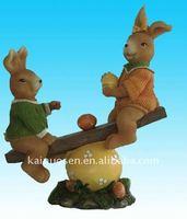 Lovely polyresin rabbits, resin rabbits craft