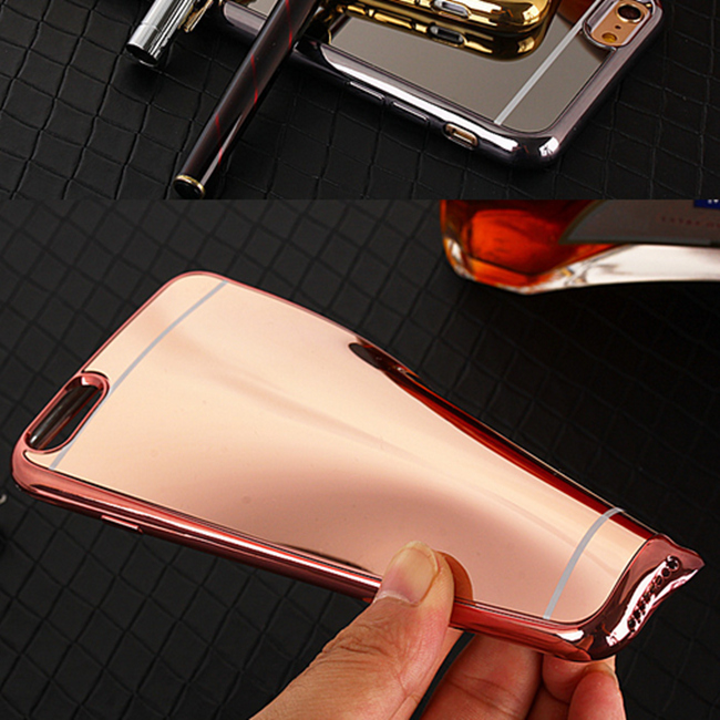 2016 Luxury Mirror Full Electroplating Soft Clear TPU Mobile Phone Case For iphone 7/7 Plus