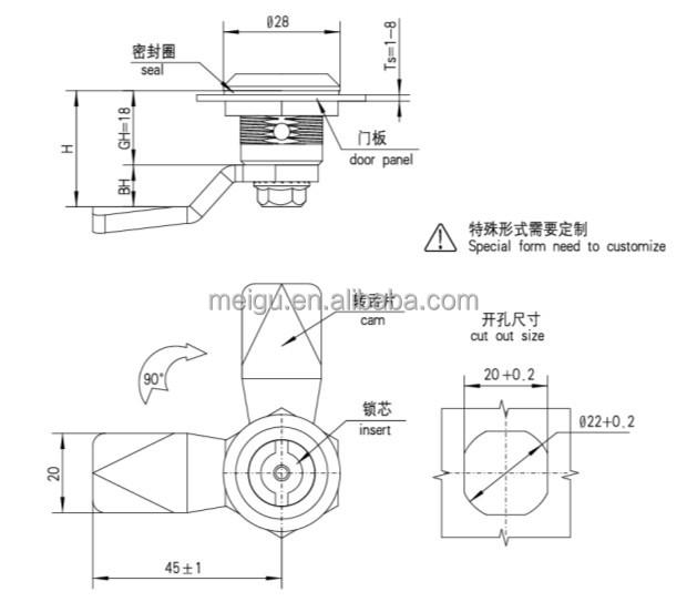 Ms705 14 Quarter Turn Double Bit Cabinet Door Cam Lock