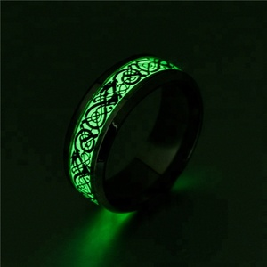 New Arrival Trendy Luminous Stainless Steel Ring Charm Glow In the Dark Ring for Couples Women& Men Jewelry