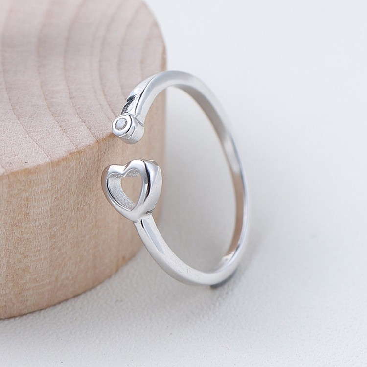 Korean Couple Silver Simple Open Ring Heart Shaped Ring Designs ...