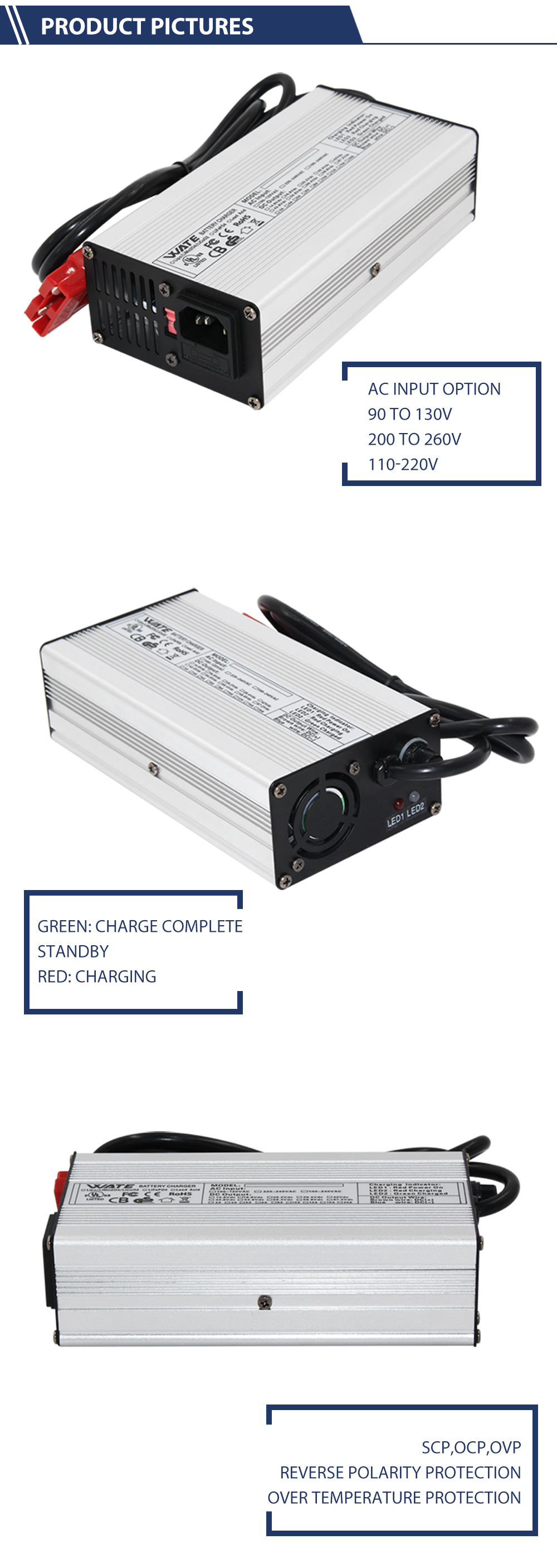 Lithium Battery Charger 63V 2A 240W with High Efficiency