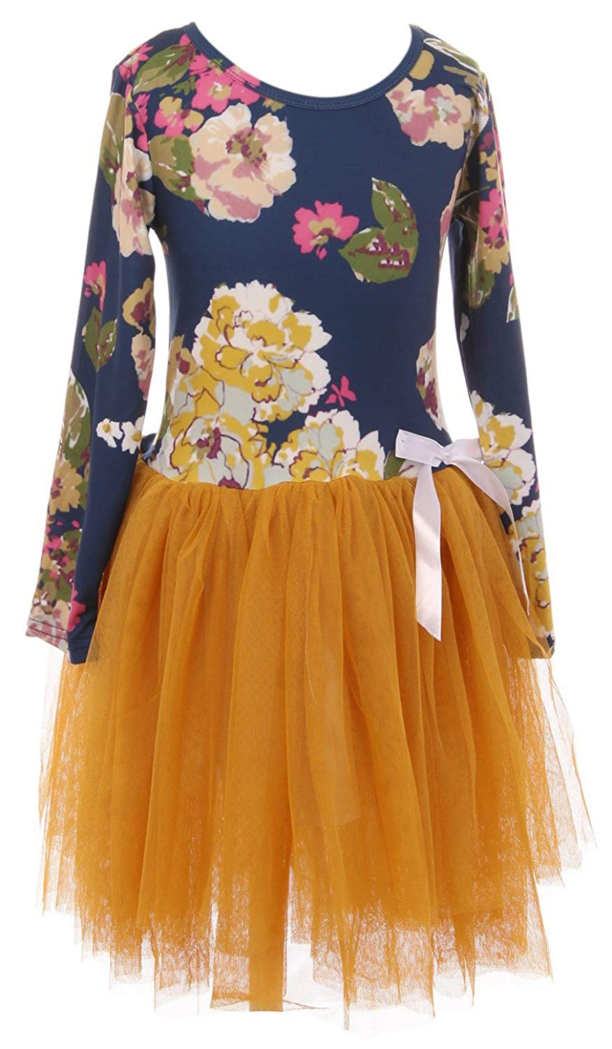 Cheap yellow flower girl find yellow flower girl deals on line at little girl kids long sleeve navy flower top yellow bottom flower girl dress 2t 8 izmirmasajfo