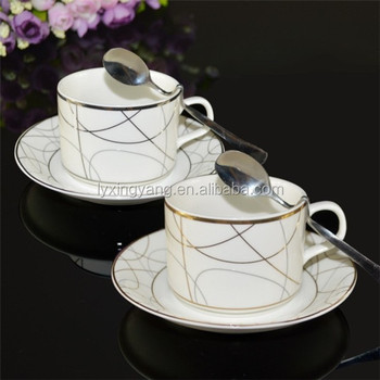 Wholes Ceramic French Coffee Cup China Manufacturer White Mugs Cups Saucers