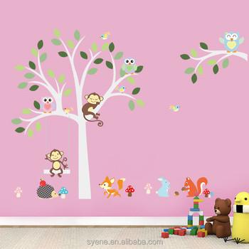 Syene New Jungle Forest Animal Owl Monkey Squirrel Children Nursery Wall  Decal Wall Sticker Art Stickers Part 87