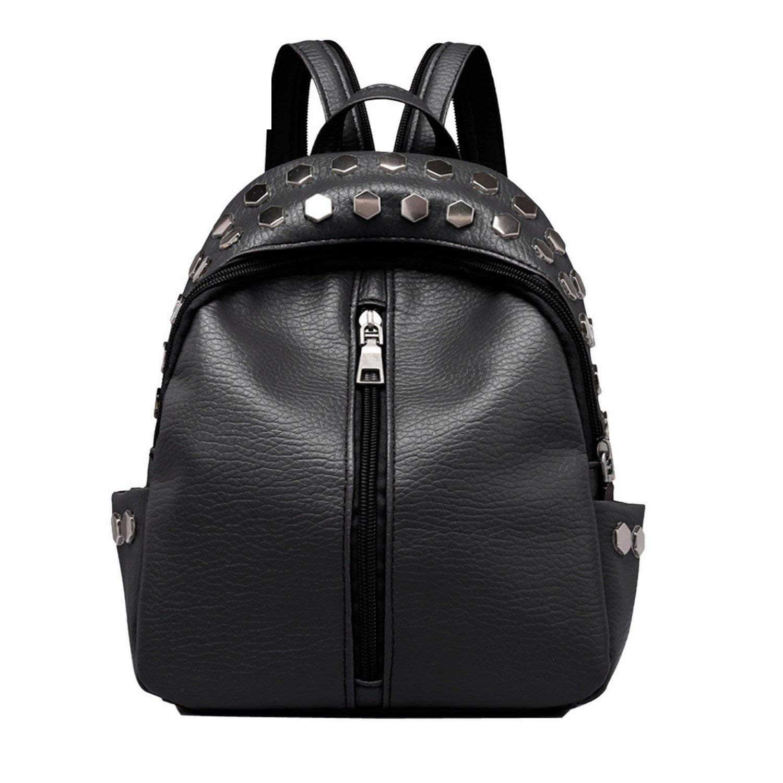 462b7cc666eba Get Quotations · Small Women Backpacks Rivet Zipper Pu Leather Student  Backpack Preppy Bag Girls Women'S Backpack Rucksack Black