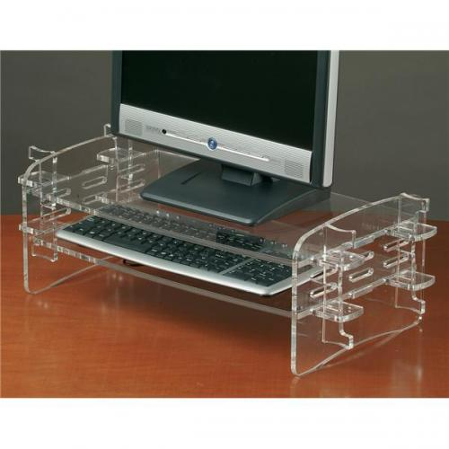 Adjustable monitor and computer keyboard clear acrylic stand