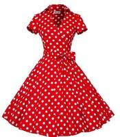 trade assurance Retro Style Cotton 50s Polka Dots Dress 1950s Vintage dresses