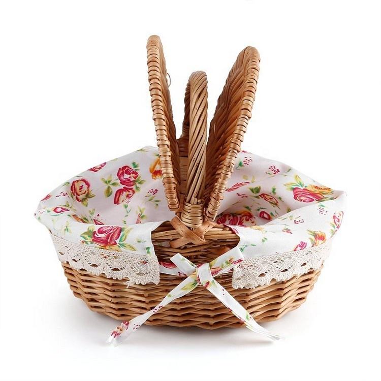 1a0a38555798b 2019 Yeni El Yapımı Doğal Hasır Dokuma Ekmek Prova Büyük Rattan Bitki  Piknik hediye sepeti ile