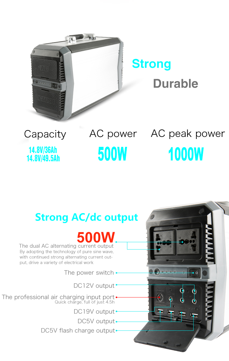 2017 new arrivals online shopping 220/110V lithium ion battery solar generator 500W portable home use