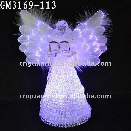 glass christmas fiber optic angel wings with led changing light home decoration