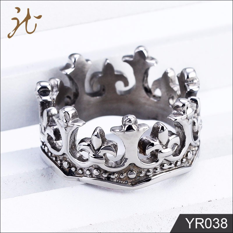 High Quality Cutting Queen Jewelry Stainless Steel Men Crown Ring