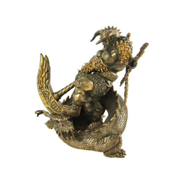 Custom resin dragon Statue with man figure