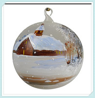 Hand painted indoor christmas ornament glass hanging ball