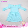 Wholesale kids summer fashion USA clothes tunic school children turquoise boutique girls ruffle long sleeves baby fashion dress