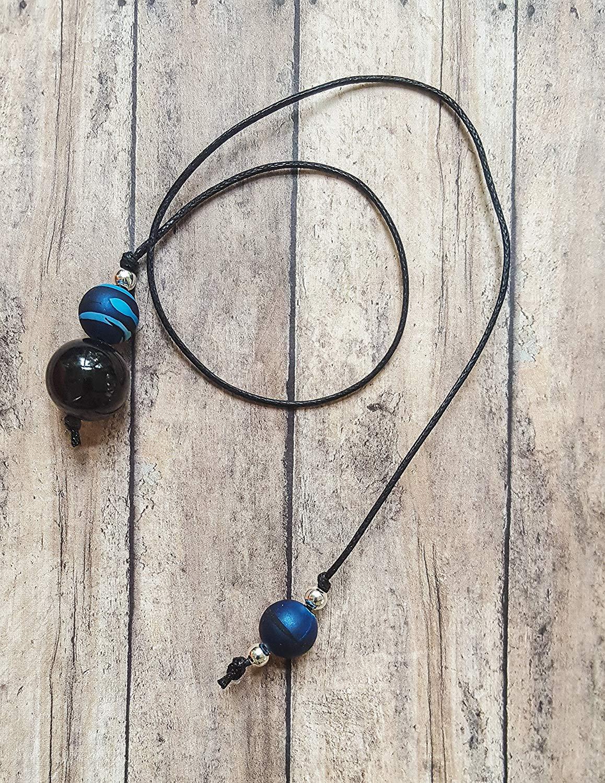 efcbdf9980 Get Quotations · Beaded Handmade Book Thong with Blue Black Camo Rubber  Coated Beads with Black Glass Beads