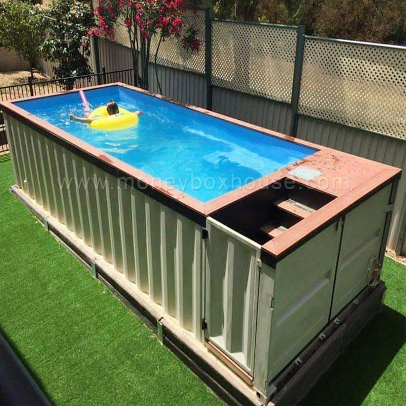 Shipping container modified metal frame swimming pool - Piscina container ...