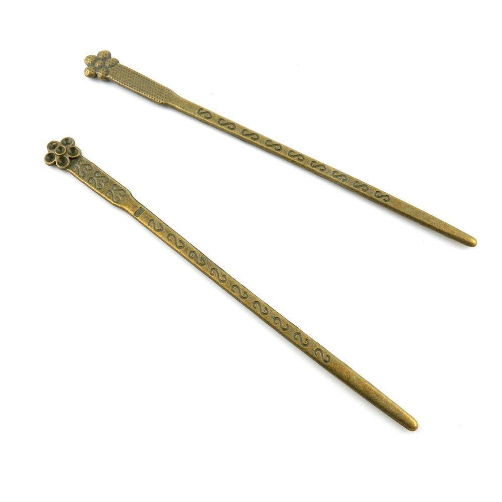 50pcs Jewelry Making Charms Jewellery Charme Antique Brass Tone Fashion Finding for Necklace Bracelet Pendant Earrings Repair DIY Q6BD2 Plum Flower Hairpin Head Pins