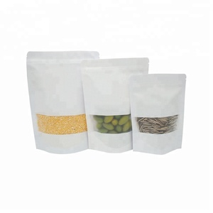 Laminated material plastic white kraft paper stand up pouch bag bolsas bolso with windows and ziplock for rice