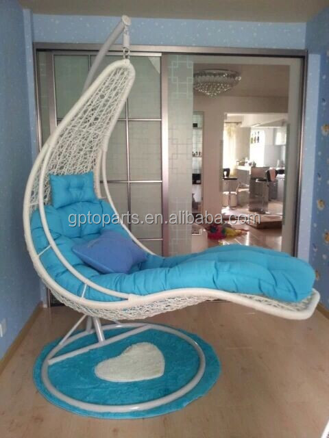 outdoor  garden swing hanging chair with stand and cushion