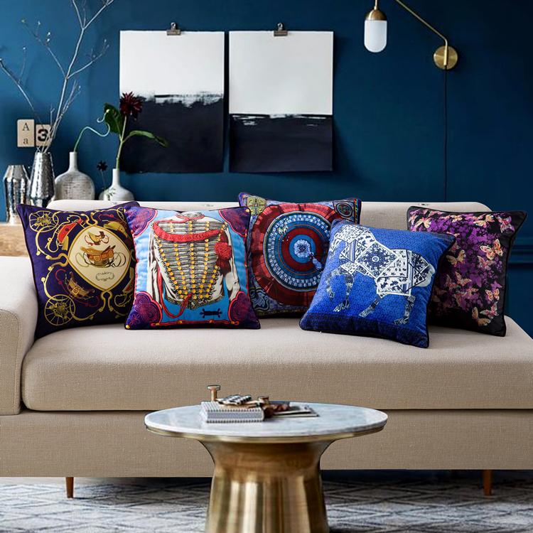 European luxury pillow sofa cushions home decor upscale flannelette fabric washable car lumbar pillow