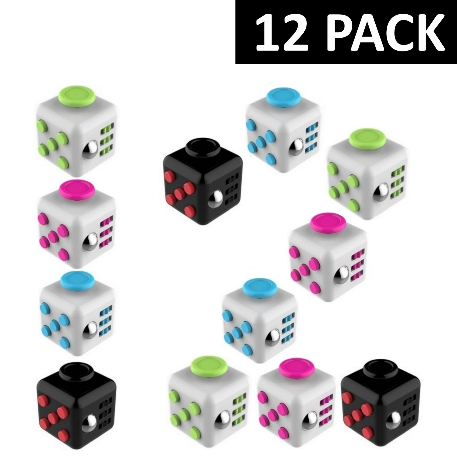 Fidget Cube (12 Pack) - In 12 Individual Boxes - Great Birthday Party Favors for Kids - Four Color Assortment - Fidget Toys for Kids & Adults - Relieves Boredom, Stress & Anxiety