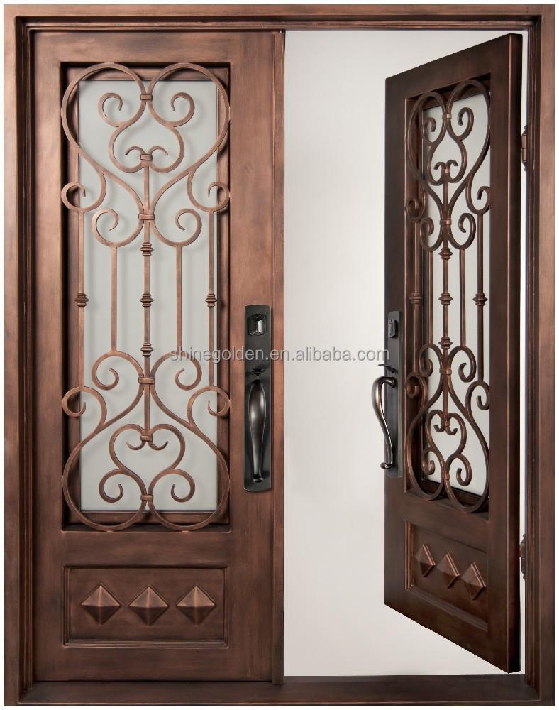 Top venta de hierro forjado puertas dobles de entrada sg for Puertas de entrada de hierro