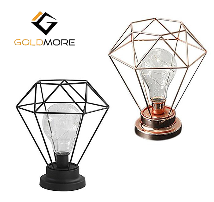 LED Modern Metal table lamps 3*AA Diamond Shape Night Lights ,craft table lamp ,Decorative industrial table Lights