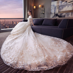 Long Tail Customized Made Wedding Dress Lace Applique Beading New Arrival Brides Gowns Vestidos Novias Wholesale US12 Size XJ15
