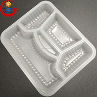 Food Grade 5 Compartment Microwaveable Take Away Blister PP Meal Tray