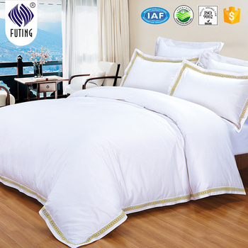 Hotel 5 Star Bedding Set Luxury 100% Cotton Bed Sheet Set Embroidering  White Duvet Cover
