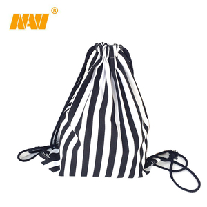 singapore Girls Handmade Travel Canvas cotton Shoe Drawstring Black White Striped Storage Bags