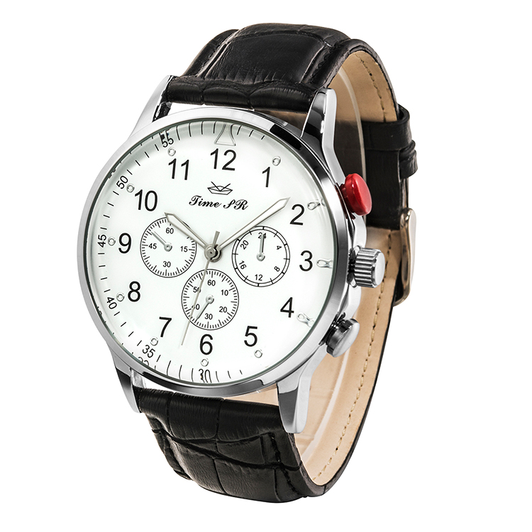 Hot Selling Waterproof Leather Strap Custom Logo Quartz Wristwatch Men