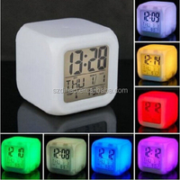 DIHAO 7 LED Colour Changing Digital LCD Alarm Clock Thermometer Date Time Night Light Digital Desk Clock for Children Gift