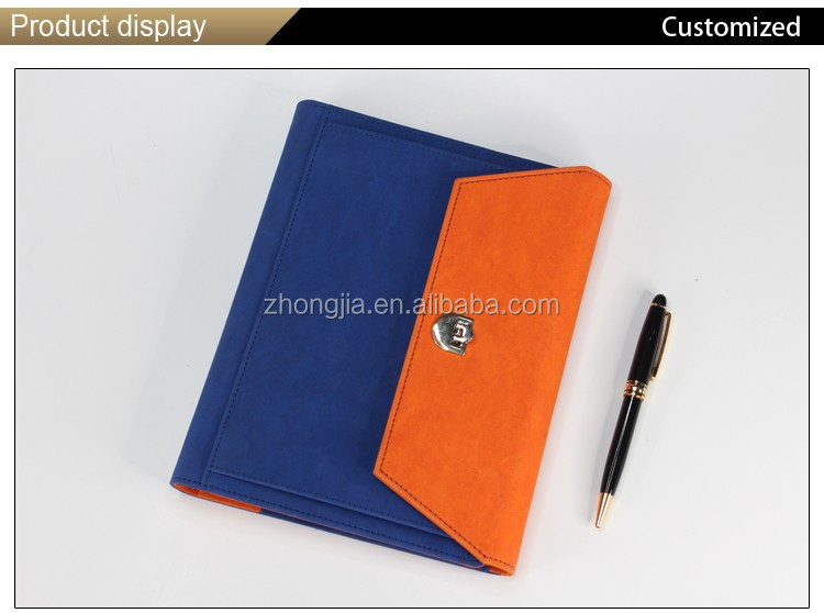 Modern three folded custom hardcover notebook pu cover