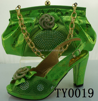 Lemon green italian ladies shoes and matching bags/wholesale shoe and bag set for nigeria party
